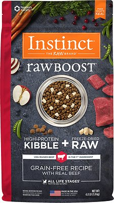 Instinct by Nature's Variety Raw Boost Grain-Free Recipe with Real Beef Dry Dog Food, 4-lb bag