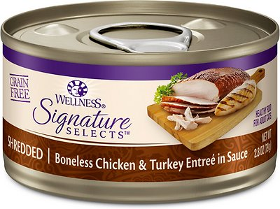 Wellness CORE Signature Selects Shredded Boneless Chicken & Turkey Entree in Sauce Grain-Free Canned Cat Food, 2.8-oz, case of 12