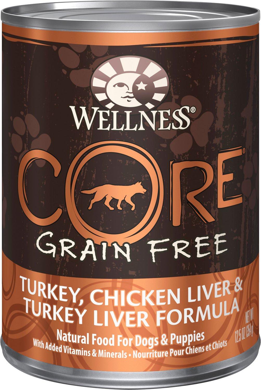 Wellness CORE Grain-Free Turkey, Chicken Liver & Turkey Liver Formula Canned Dog Food, 12.5-oz