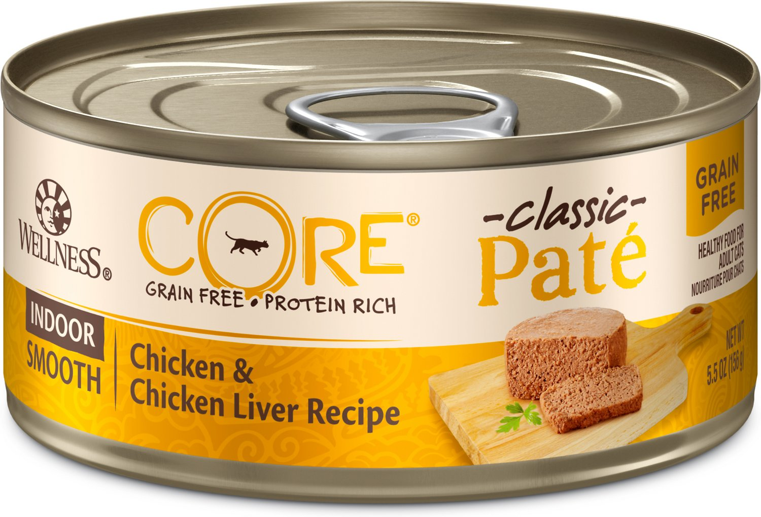 Wellness CORE Grain-Free Indoor Chicken & Chicken Liver Recipe Canned Cat Food, 5.5-oz