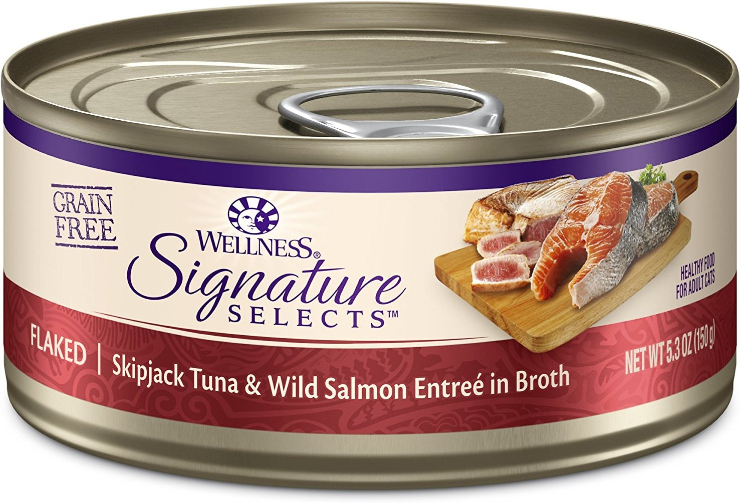Wellness CORE Signature Selects Flaked Skipjack Tuna & Wild Salmon Entree in Broth Grain-Free Canned Cat Food, 2.8-oz