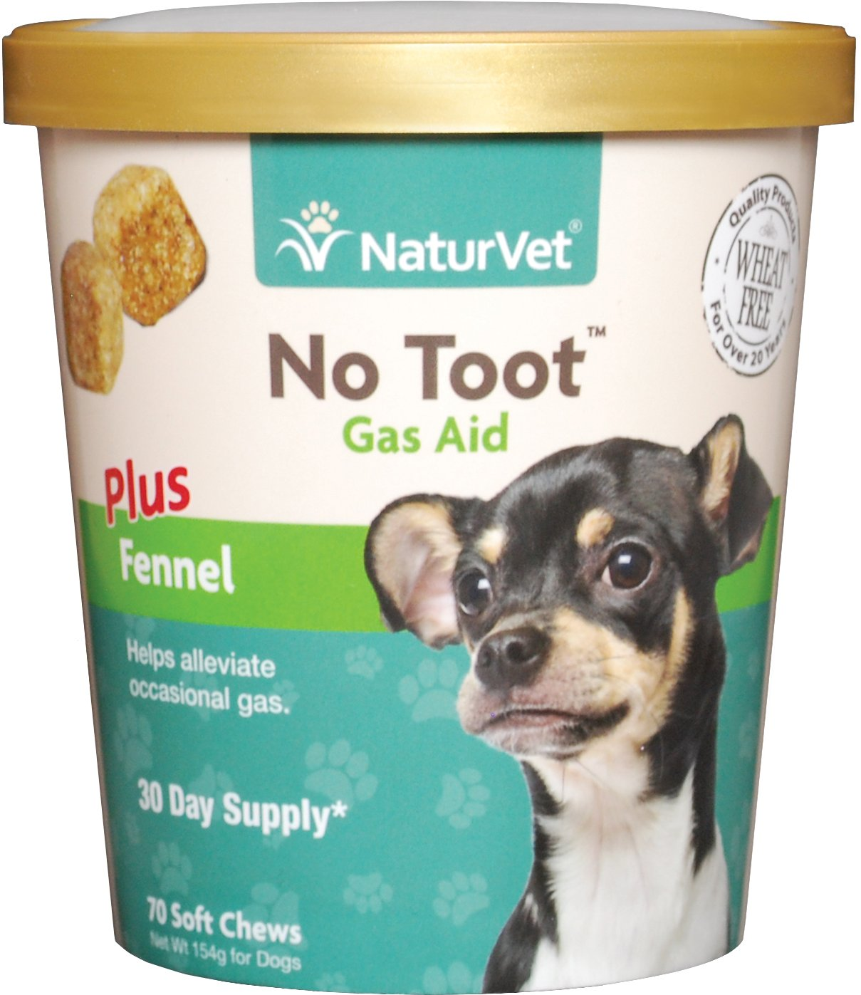 NaturVet No Toot Gas Aid Soft Chews for Dogs, 70-count