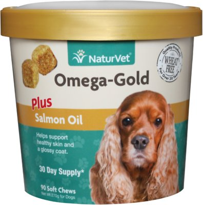 NaturVet Omega Gold Plus Salmon Oil Soft Chews for Dogs, 90-count