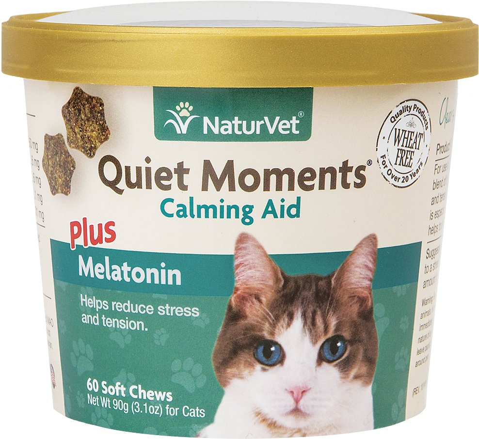 NaturVet Quiet Moments Calming Aid Plus Melatonin Cat Supplement, 60-count