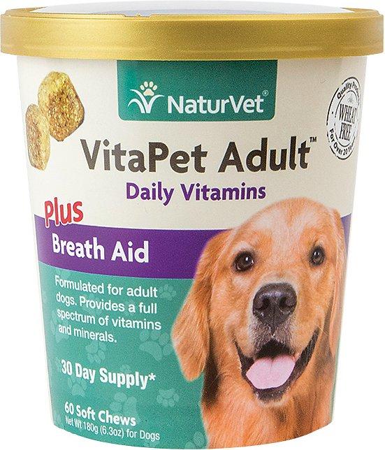 NaturVet Vita Pet Adult Plus Breath Aid Soft Chews for Dogs, 60-count
