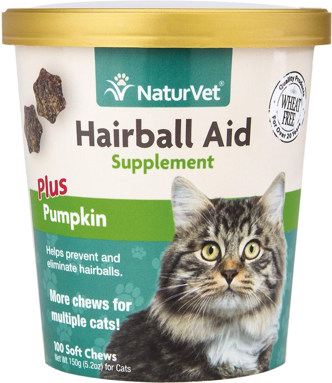 NaturVet Hairball Aid Suppliment Plus Pumpkin Cat Soft Chews Image