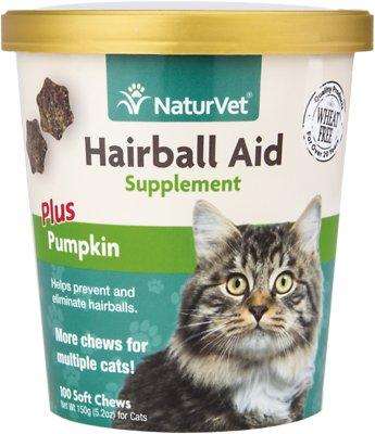 NaturVet Hairball Aid Supplement Plus Pumpkin Cat Soft Chews, 100-count