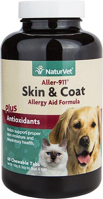 NaturVet Aller 911 Allergy Aid Skin & Coat Dog & Cat Tablets, 60 count