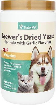 NaturVet Brewer's Dried Yeast Formula with Garlic Dog & Cat Powder Supplement, 1-lb