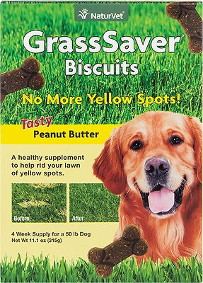 NaturVet GrassSaver Biscuits Peanut Butter Flavored Dog Treats, 11.1-oz