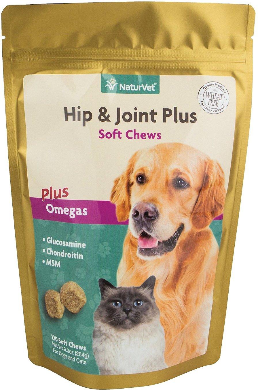 NaturVet Hip & Joint Plus Dog & Cat Soft Chews, 120-count