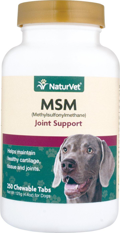 NaturVet MSM Methylsulfonylmethane Tablets for Dogs, 250-count