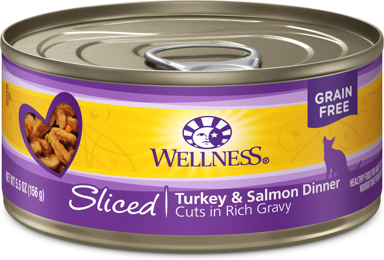 Wellness Complete Health Sliced Turkey & Salmon Dinner Canned Cat Food, 5.5-oz