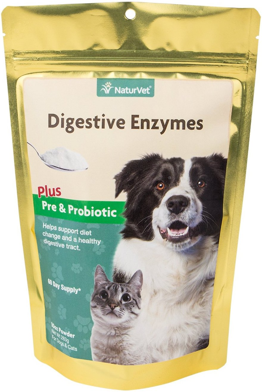 NaturVet Digestive Enzymes Pre & Probiotic Plus Powder Dog Supplement, 10-oz