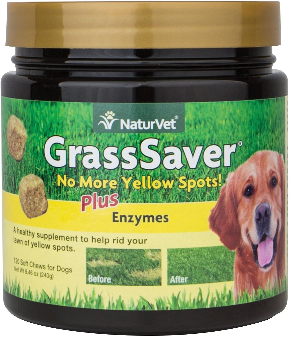 NaturVet GrassSaver Plus Enzymes Dog Soft Chews, 120 count Image