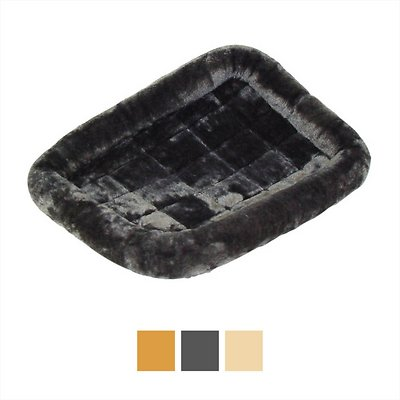 MidWest Quiet Time Fleece Pet Bed and Crate Mat, Gray, 24-in