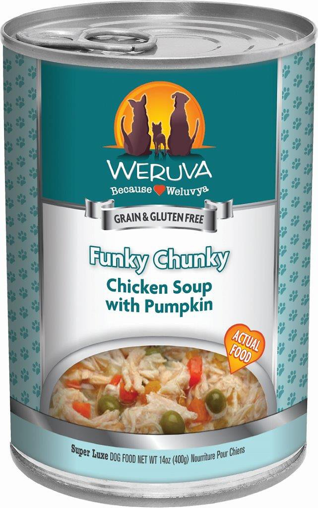 Weruva Dog Classic Funky Chunky Chicken Soup with Pumpkin Grain-Free Wet Dog Food, 14-oz