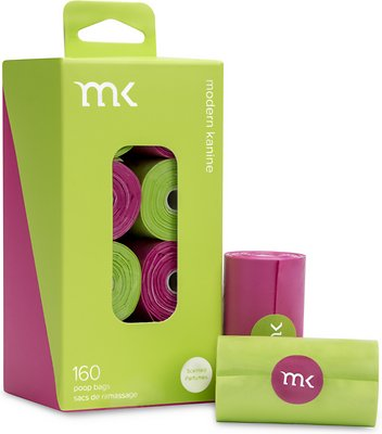 Modern Kanine Waste Bags, Green & Pink, 160-count