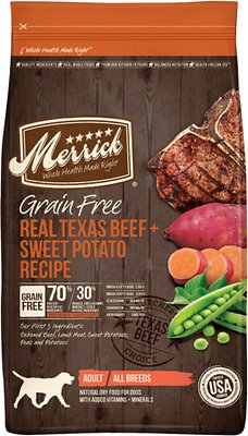 Merrick Grain-Free Real Texas Beef + Sweet Potato Recipe Dry Dog Food, 12-lb bag (original)