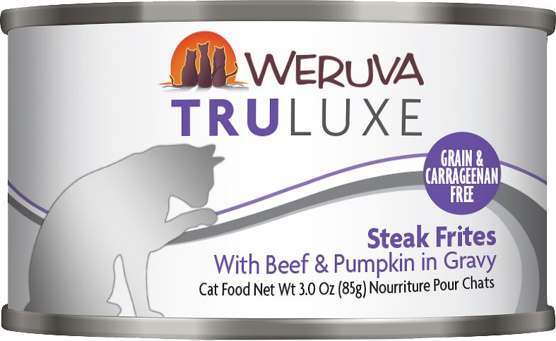 Weruva Cat Truluxe Steak Frites with Beef & Pumpkin in Gravy Grain-Free Wet Cat Food, 6-oz