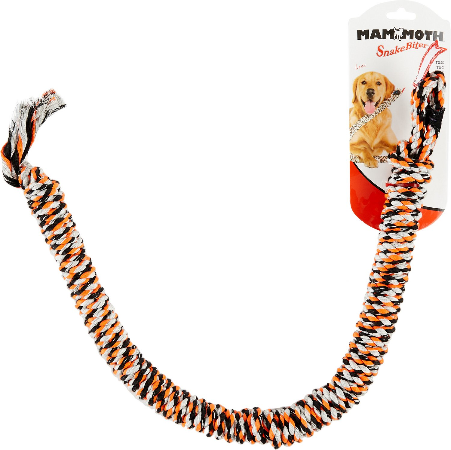 Mammoth SnakeBiter Snake Rope Dog Toy, Color Varies Image