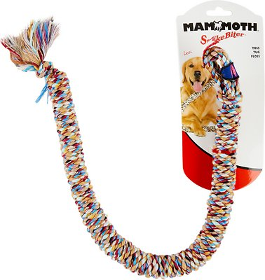 Mammoth SnakeBiter Snake Rope Dog Toy, Color Varies, Small