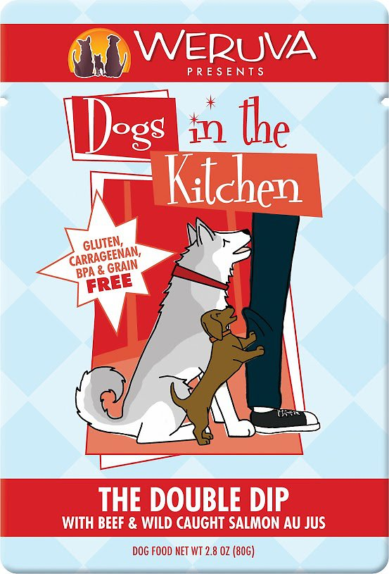 Weruva Dogs in the Kitchen The Double Dip with Beef & Wild Caught Salmon Au Jus Grain-Free Wet Dog Food, 2.8-oz