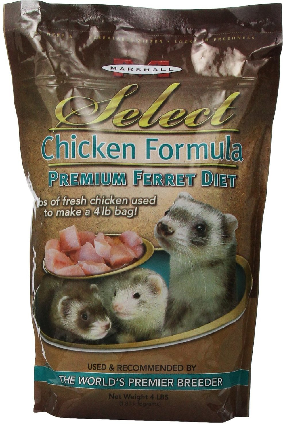 Marshall Select Chicken Formula Ferret Food, 4-lb bag