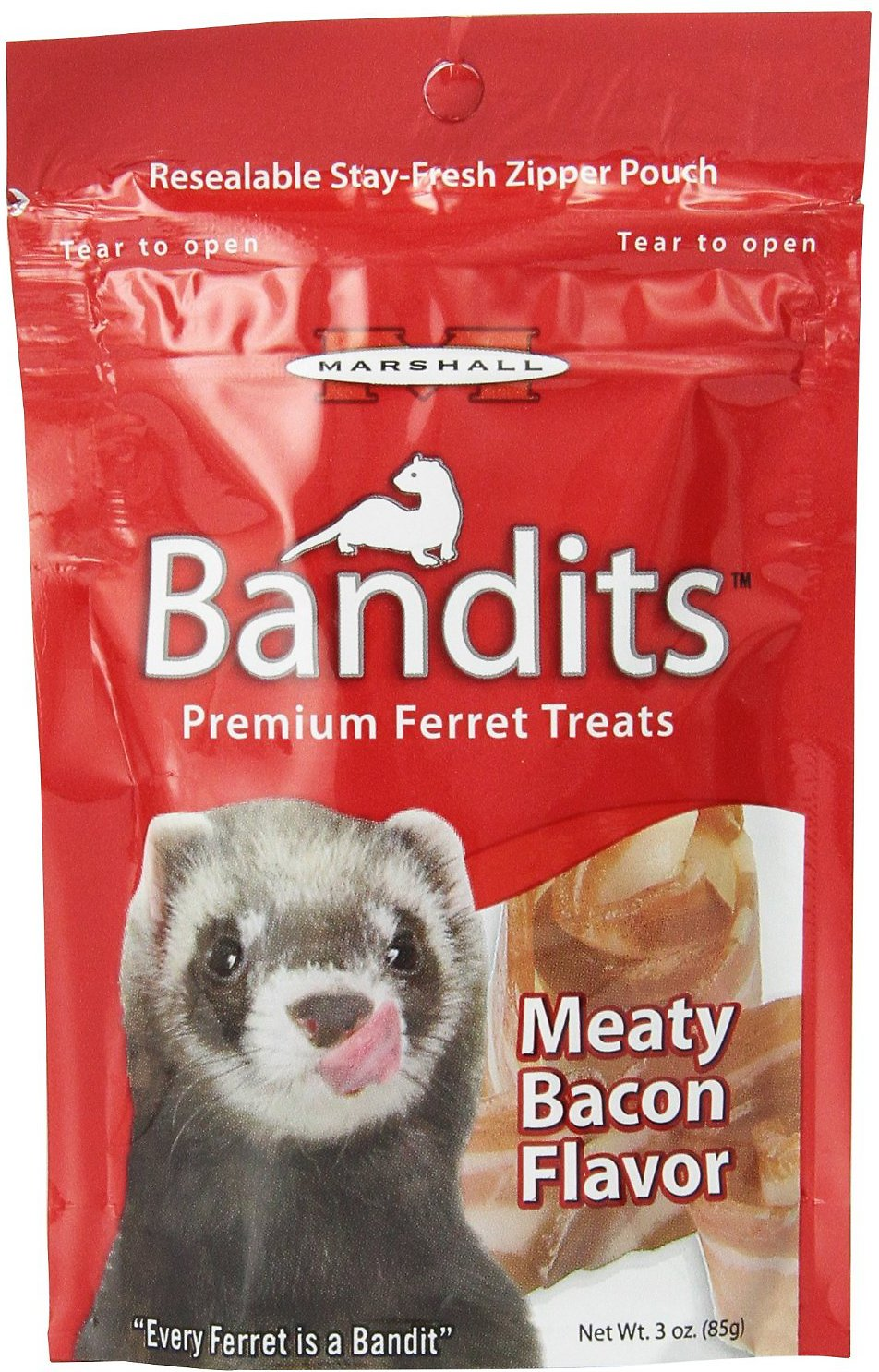Marshall Bandits Premium Meaty Bacon Flavor Ferret Treats, 3-oz bag Image