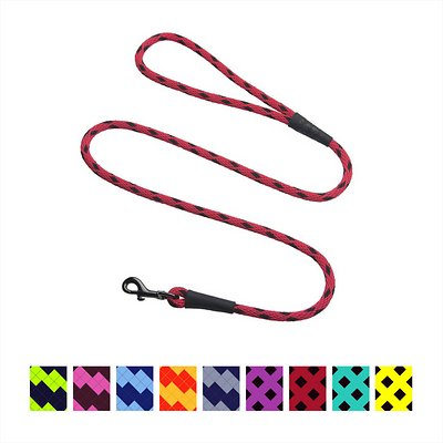 Mendota Pet Small Snap Checkered Dog Leash, Black Ice Red, 4-ft