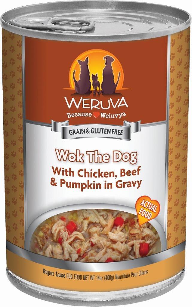 Weruva Dog Classic Wok the Dog with Chicken, Beef & Pumpkin in Gravy Grain-Free Wet Dog Food, 5.5-oz
