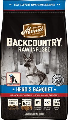 Merrick Backcountry Raw Infused Hero's Banquet Recipe Dry Dog Food, 4-lb bag