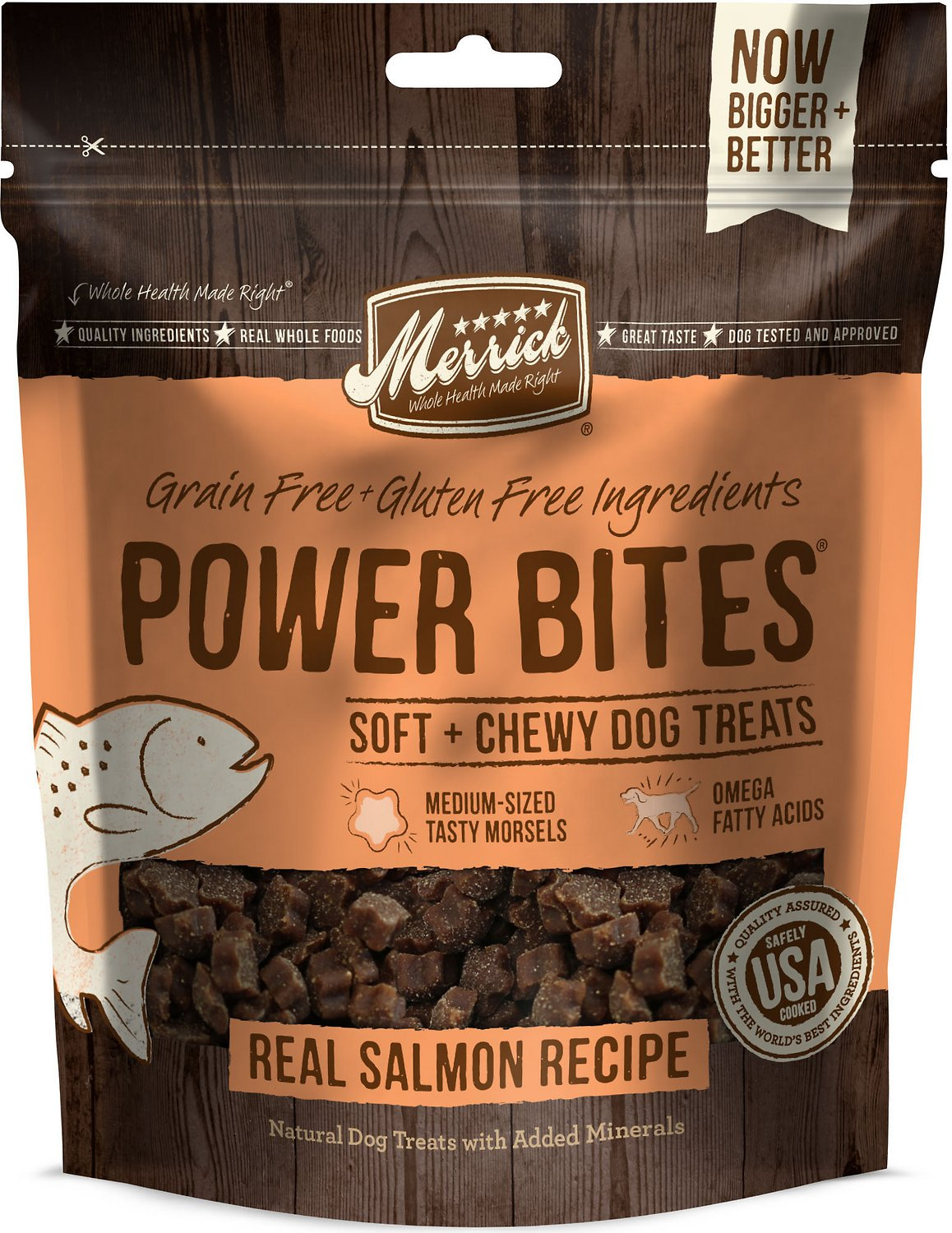 Merrick Power Bites Real Salmon Recipe Grain-Free Soft & Chewy Dog Treats, 6-oz bag