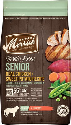 Merrick Real Chicken & Sweet Potato Recipe Grain Free Senior Dry Dog Food, 4-lb bag (original)