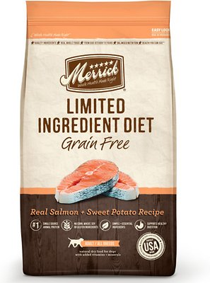 Merrick Limited Ingredient Diet Grain-Free Real Salmon + Sweet Potato Recipe Dry Dog Food, 4-lb bag