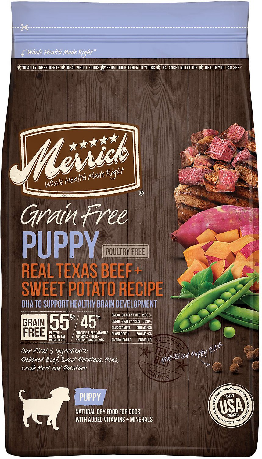 Merrick Real Beef & Sweet Potato Recipe Grain-Free Puppy Dry Dog Food Image