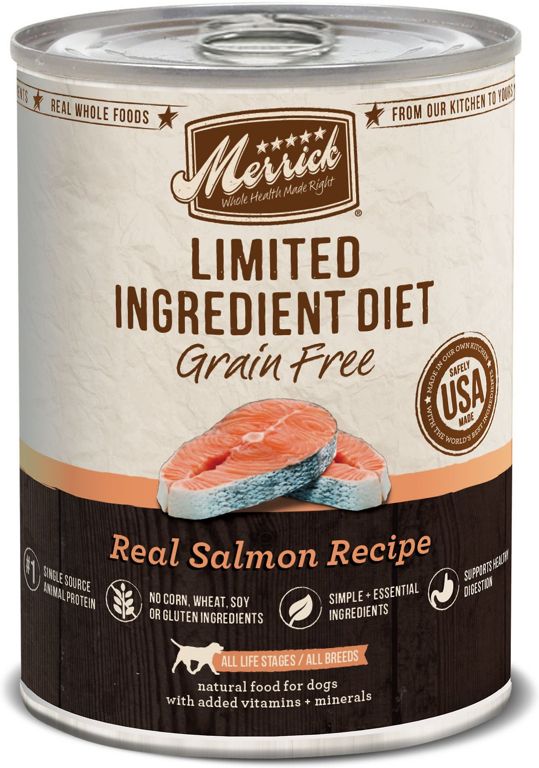 Merrick Limited Ingredient Diet Grain-Free Real Salmon Recipe Canned Dog Food, 12.7-oz