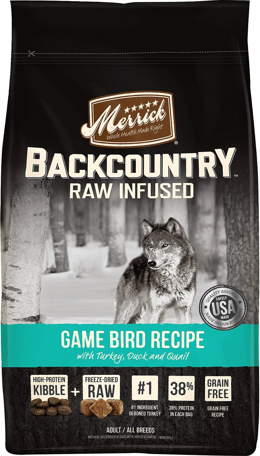 Merrick Backcountry Raw Infused Game Bird Recipe with Turkey, Duck & Quail Grain-Free Dry Dog Food Image