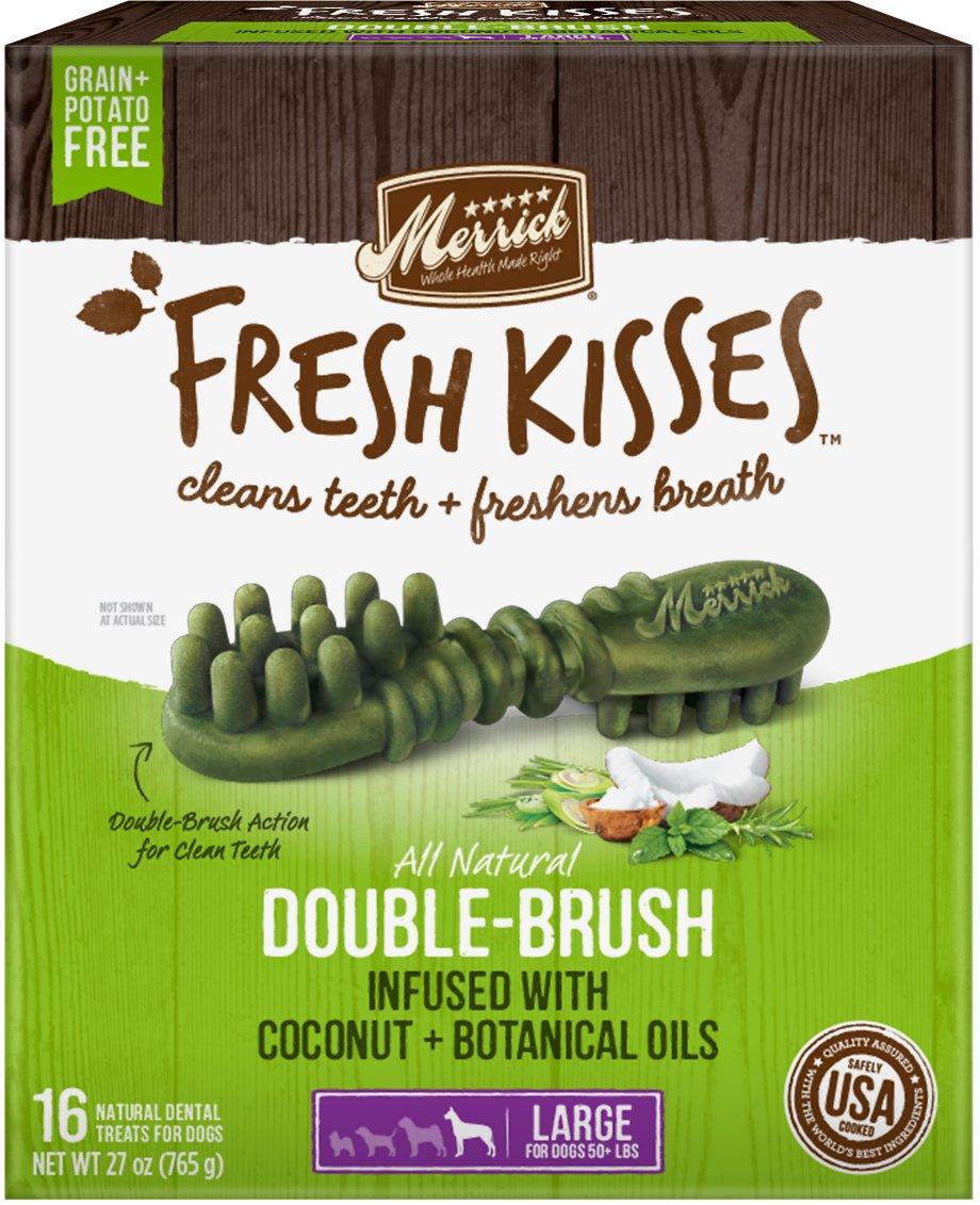 Merrick Fresh Kisses Double-Brush Coconut Oil & Botanicals Large Grain-Free Dental Dog Treats Image