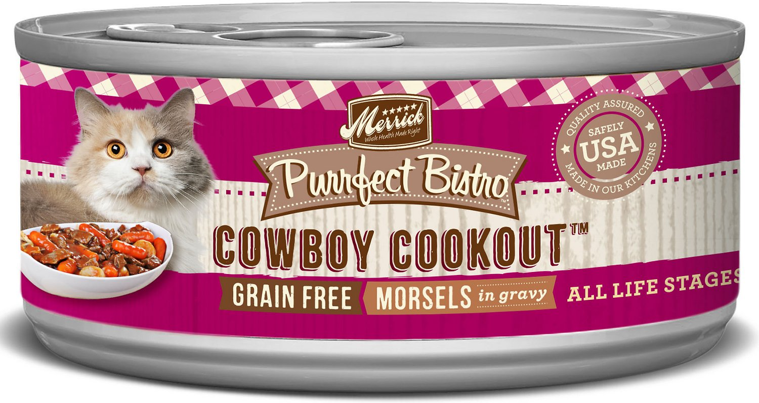Merrick Purrfect Bistro Grain-Free Cowboy Cookout Morsels in Gravy Canned Cat Food, 3-oz