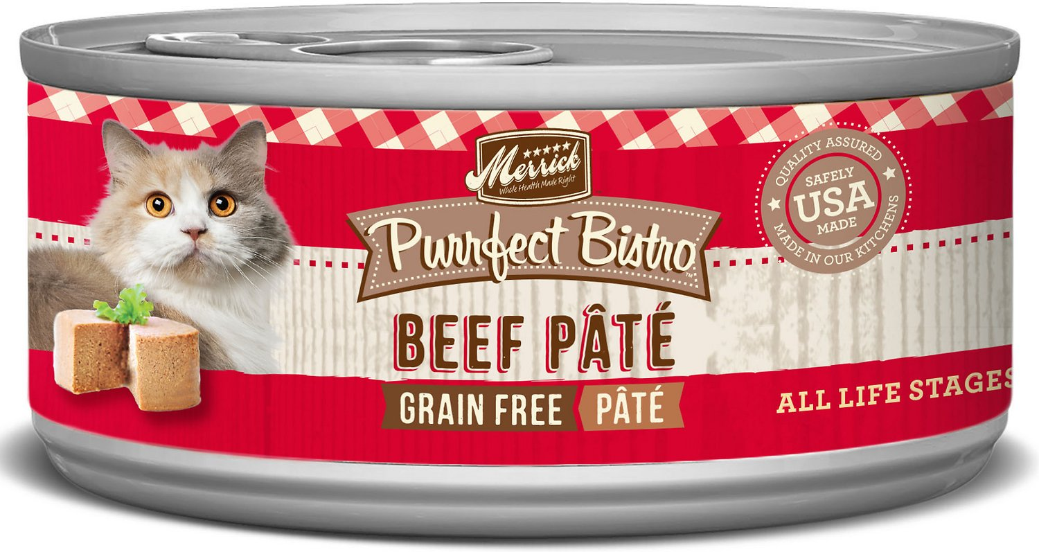 Merrick Purrfect Bistro Grain-Free Beef Pate Canned Cat Food, 3-oz