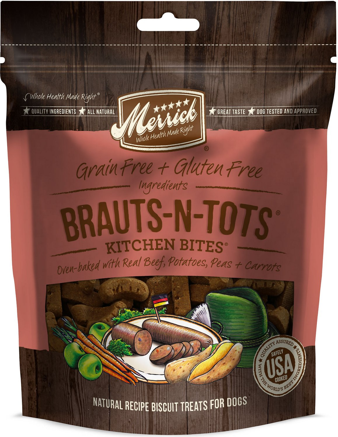 Merrick Kitchen Bites Brauts-n-Tots Grain-Free Biscuits Dog Treats, 9-oz bag