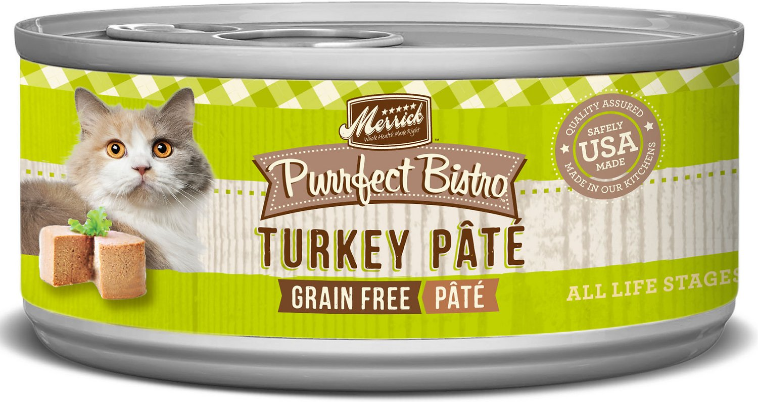 Merrick Purrfect Bistro Grain-Free Turkey Pate Canned Cat Food, 5.5-oz
