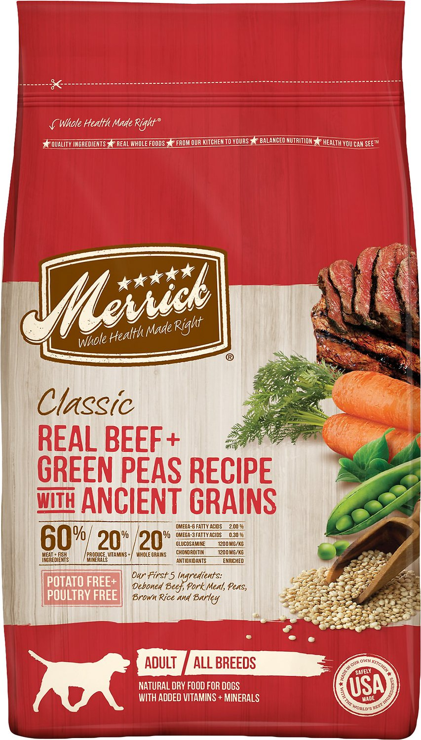 Merrick Classic Real Beef + Green Peas Recipe with Ancient Grains Adult Dry Dog Food Image