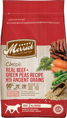 Merrick Classic Real Beef + Green Peas Recipe with Ancient Grains Adult Dry Dog Food, 4-lb bag