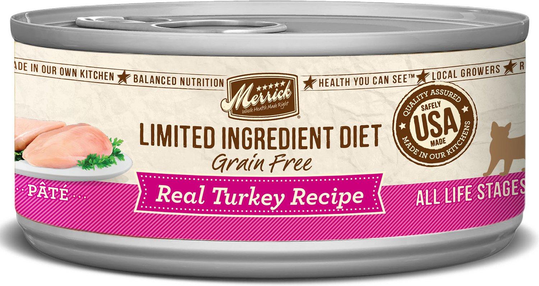 Merrick Limited Ingredient Diet Grain-Free Real Turkey Pate Recipe Canned Cat Food, 5-oz
