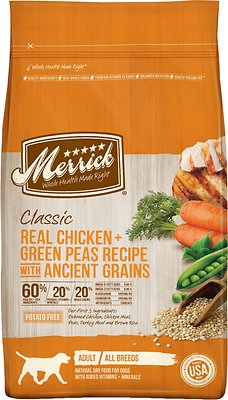 Merrick Classic Real Chicken + Green Peas Recipe with Ancient Grains Adult Dry Dog Food, 25-lb bag