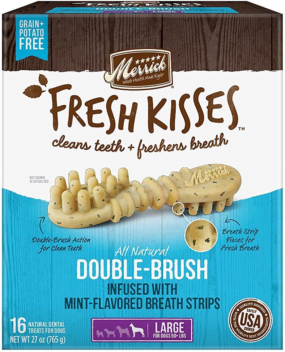 Merrick Fresh Kisses Double-Brush Mint Breath Strips Large Grain-Free Dental Dog Treats Image