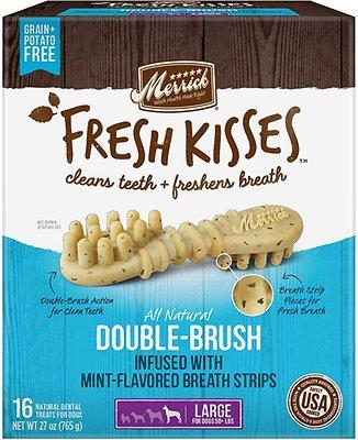 Merrick Fresh Kisses Double-Brush Mint Breath Strips Large Grain-Free Dental Dog Treats, 16 count