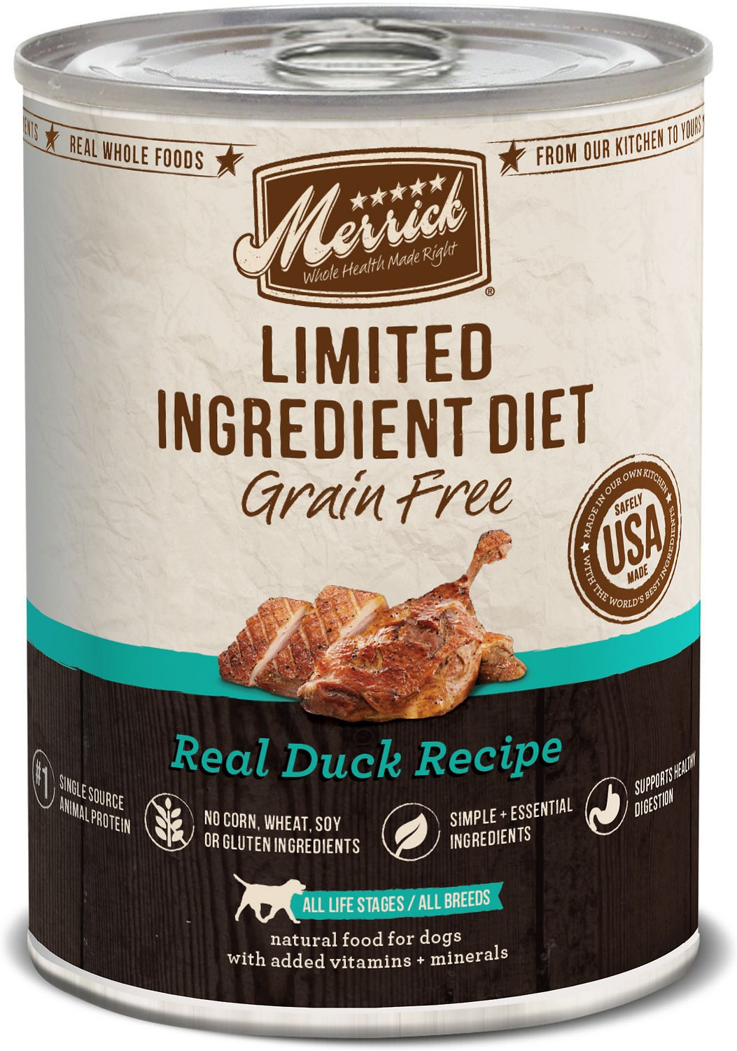 Merrick Limited Ingredient Diet Grain-Free Real Duck Recipe Canned Dog Food, 12.7-oz